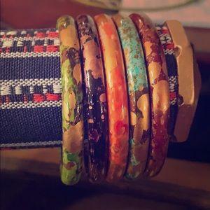 Gold Color Flake/ multi colored bangle bracelets.